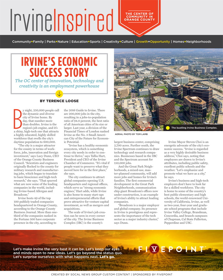 Thumbnail Image For Irvine's Economic Success Story - Click Here To See