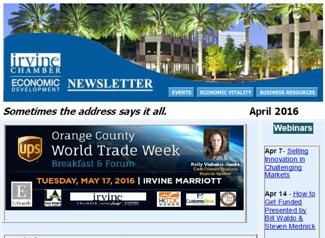 Thumbnail Image For Irvine Chamber Economic Development Newsletter - April 2016 - Click Here To See
