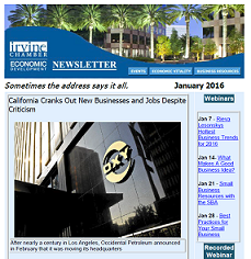 Thumbnail Image For Irvine Chamber Economic Development Newsletter - Jan 2016 - Click Here To See