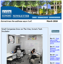 Thumbnail Image For Irvine Chamber Economic Development Newsletter - March 2016  - Click Here To See